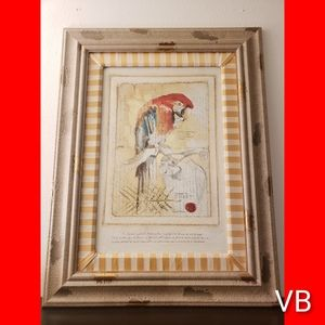 Decorative Professionally Framed Textured Parrot